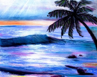 Hawaiian Sunset Print - Ocean Art Print - Kauai Beach Art - Hawaiian Sunset - Kauai Art Prints - Hawaii Seascape Art - Hawaii Decor