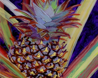 Pineapple Reverse Acrylic  Painting by Marionette from Kauai Hawaii red blue purple gold