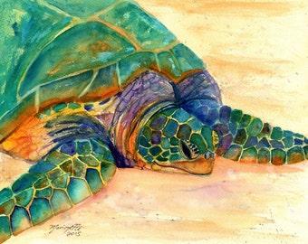 Hawaiian Sea Turtle Fine Art Print - Kauai Art - Honu Paintings - Childrens Wall Art - Ocean Sea Decor - Animal Giclee Print - Beach