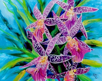 Dancing Orchids Original Reverse Acrylic Painting Kauai Hawaii Hawaiian flower Exotic Decor Hawaii Interior Design Orchid Bouquet