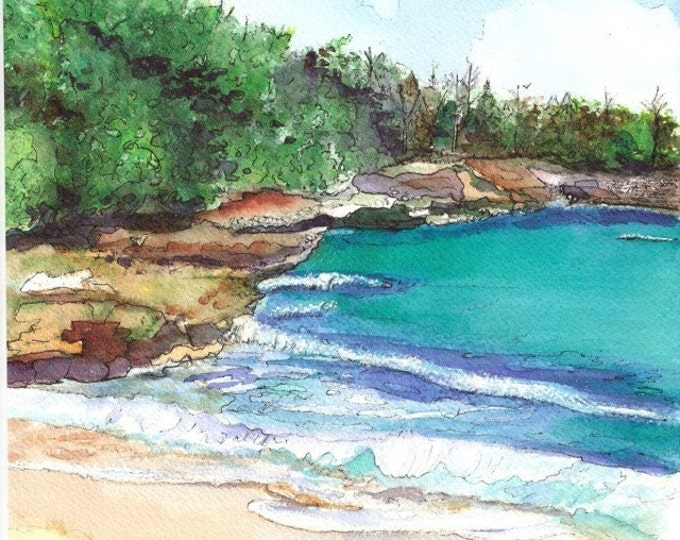 Kauai Beach art, Kauai art, Kauai prints, hawaiian seascapes, beaches, fine art beach print, hawaii decor, kauaiartist, kauai watercolors