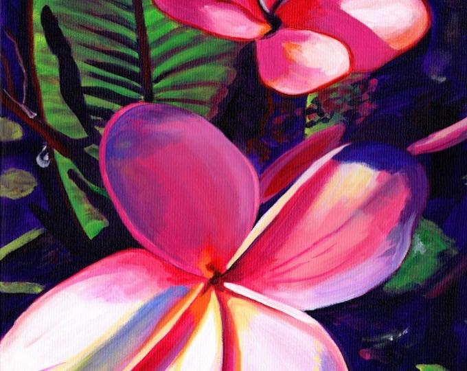 Pink Plumeria - plumeria print - Kauai Hawaii - Hawaiian Aloha Flower - Tropical Decor - Interior Design - Plumerias Frangipani Art - Aloha