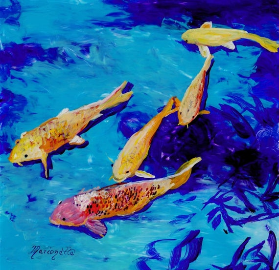 Original Koi Painting - Reverse Acrylic Art -  Swimming Koi Fish - Koi Pond - Kauai Art - Asian Oriental Japanese - nishikigoi carp