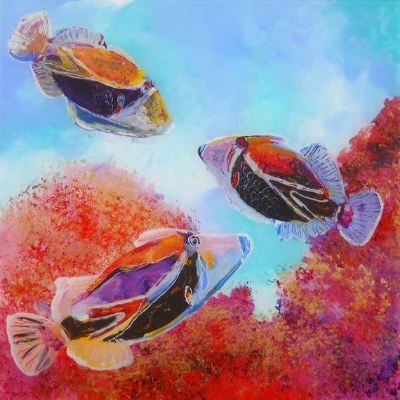 Humuhumu Tropical Fish - fish art print - Hawaiian sea life - Ocean decor interior design - Hawaiian reef fish - Kids Art - hawaiian art