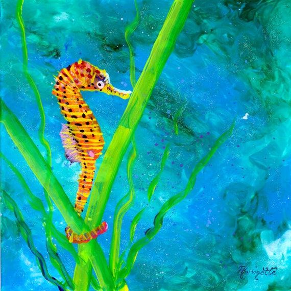 Sea Horse Wall Decor Seahorse Tropical Fish Art from Kauai Hawaii    Under the Sea Nursery Wall Art