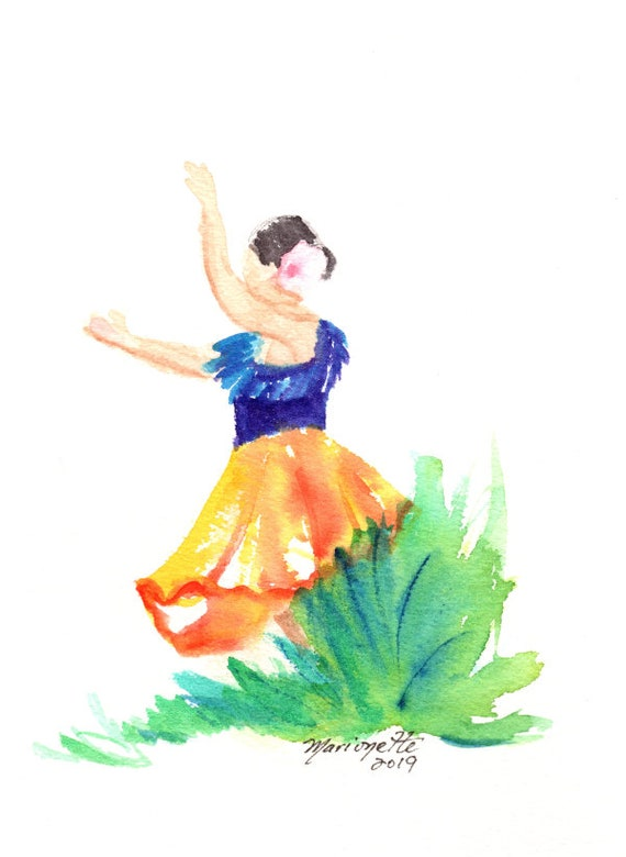 Hula Girl Painting Hula Dancer Watercolor Original Hula Art Hawaiian Decor Hawaii Art Hawaii Watercolor Paintings Hawaiian Hula Dance Aloha