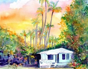 kauai plantation cottages, kauai art, kauai prints, hawaii art, hawaiian paintings, waimea cottage, tropical sunsets, houses, cottage