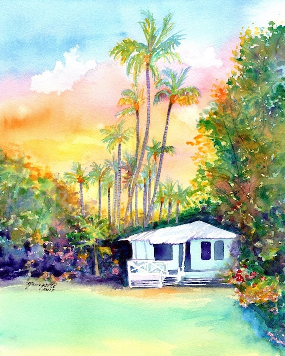 kauai plantation cottages, kauai art, kauai prints, hawaii art, hawaiian paintings, waimea cottage, tropical sunsets, houses, cottage