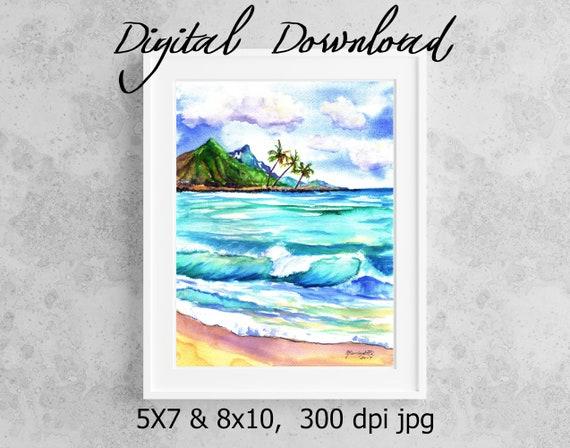 Kauai Seascape Print Digital Download 8x10 5x7 jpg Watercolor Print Printable wall art Downloadable Ocean Hawaiian Beach Wave Palm Trees
