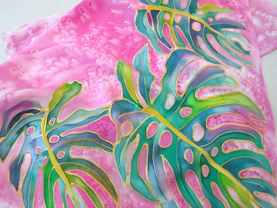 Monstera Silk Scarf - Silk Painting - Handmade Scarf - Hawaii Scarf - Hand Painted Silk - Square Scarf - Tropical Scarf - Monstera Leaves