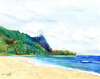 kauai tunnels  beach original watercolor painting north shore of kauai hawaiian paintings makana mountian watercolour makua kauaiartist