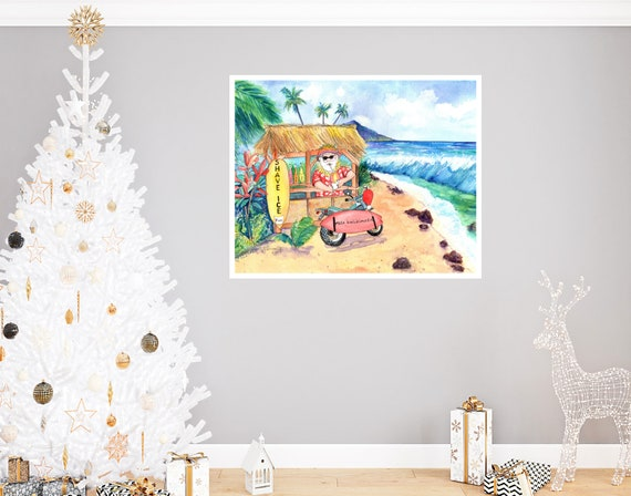 Mele Kalikimaka Shave Ice Santa Large Art Print 16x20 18x24 24x30 Hawaiian Art Kauai Art Hawaiian Decor Hawaii Art Print Christmas