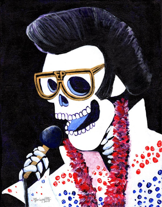 Elvis, Sugar Skull Decor, Sugar Skull Art, Skeleton Print, Halloween Decor, Halloween Decorations, Dia De Los Muertos Decor, Elvis Presley