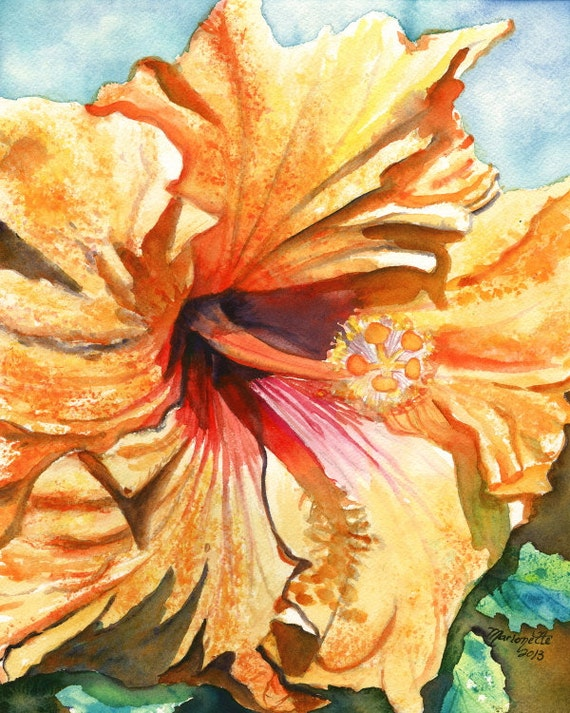 Hibiscus art, yellow hibiscus art, hibiscus print, hibiscus painting, tropical flower art, Hawaiian art, Hawaii flower art