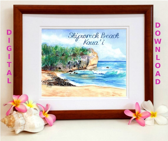 Instant Download, 8x10 5x7 print, Shipwreck Beach, Printable wall art, Digital Download, Downloadable Prints, Shipwreck's Beach Kauai