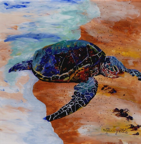 Kauai Sea Turtle Painting, Hawaiian Honu, Original Reverse Acrylic Art, Hawaii Paintings, Green Sea Turtles, Beach Ocean, Whimsical  Animals