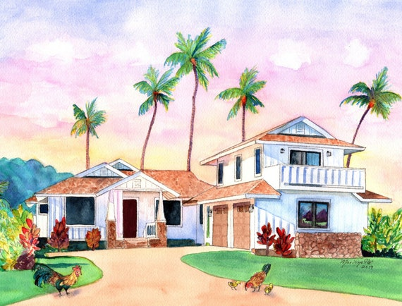 Custom House Portrait, House Painting, Custom House Watercolor, Home Portrait, Housewarming gift, New Home Gift, Hawaiian House, Aloha