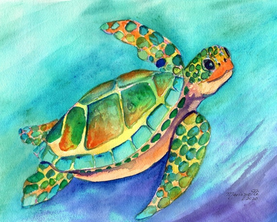 Hawaii Turtle Art, Sea Turtle Wall Art, Sea Turtle Decor, Hawaiian Honu Original Watercolor, Ocean Art, Hawaii Beach Gift, Turtle Painting