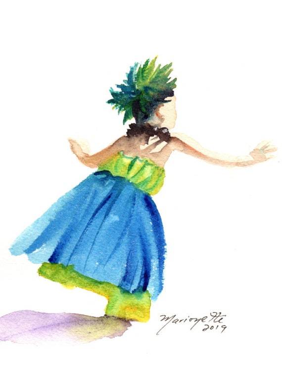 Original Hula Watercolor,  Hula Girl Painting,  Hula Dance,  Modern Hula, Hula Auana, Hawaii Decor, Hawaii Art, Hawaii Watercolor Paintings