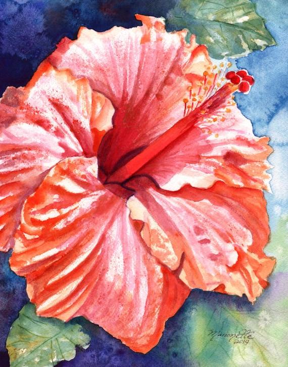 hibiscus art print, flower prints, hawaiian art, tropical decor, hibiscus paintings, kauai maui oahu,  hibiscus painting, tropical flowers