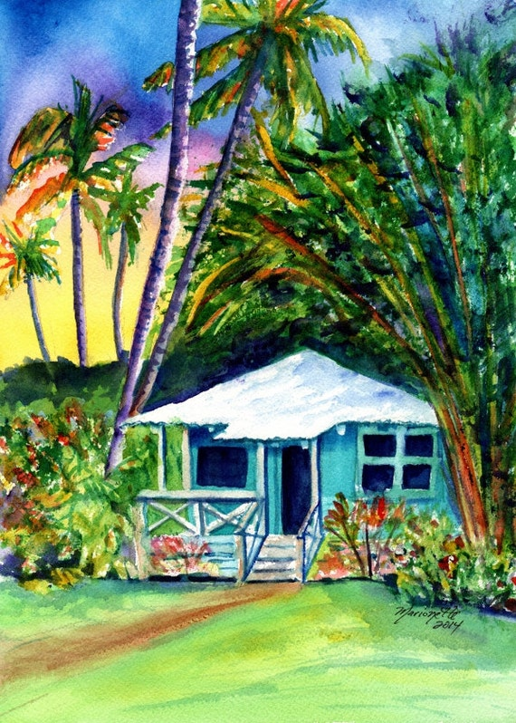 Kauai Plantation Cottage - Kauai Art Prints - Whimsical House Art - Vacation Cottage Print - Hawaiian House Hale - Home Decor Giclee Prints