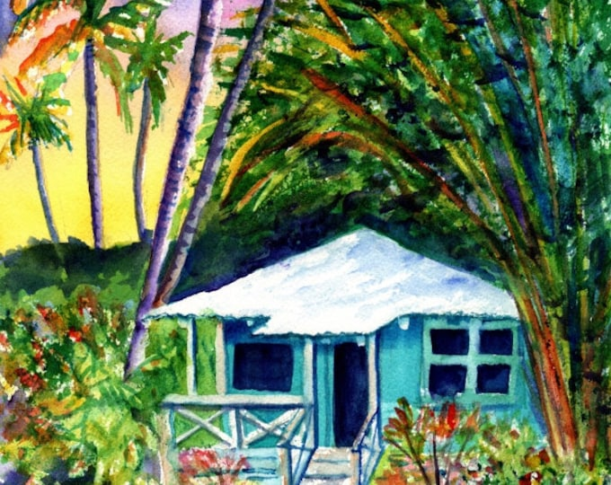Kauai Plantation Cottage - Kauai Art Prints - Whimsical House Art - Vacation Cottage Print - Hawaiian House Hale - Home Decor Giclee Prints