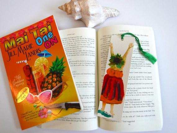 Hula Girl Bookmark, Watercolor Book mark, Handmade Bookmarks, Reader Gift, Hula Halau Gift, unique bookmark, book marker, summer reading