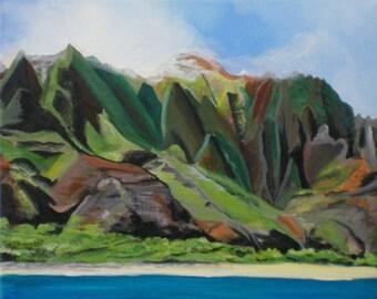 Na Pali art, Kauai mountains, Kauai cliffs, Kauai seascape, Kauai art, Kauai boat tour, Kauai painting, Hawaii art, Hawaii painting, cliffs