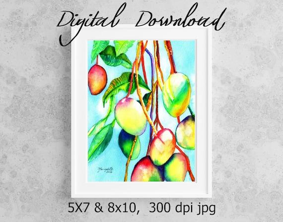 Mango Print Digital Download 8x10 5x7 jpg Watercolor Print Printable wall art Downloadable Aloha Decor Mangoes Tropical Fruit Hawaii Art