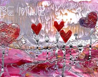 Happy Valentine's Day Card Printable DIY Valentines Love 5x7 pdf Be Mine Valentine Downloadable Download  Hearts Romance encaustic art
