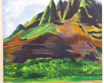 Kauai Na Pali Acrylic Painting from Kauai Hawaii Cliffs Mountains Hawaiian Art  Na Pali Coast State Park Kauai Interior Design Decor