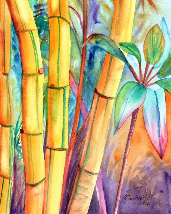 lucky bamboo, bamboo art prints, kauai maui oahu hawaii, japanese oriental asian zen, bamboo painting, kauai fine art, kauaiartist
