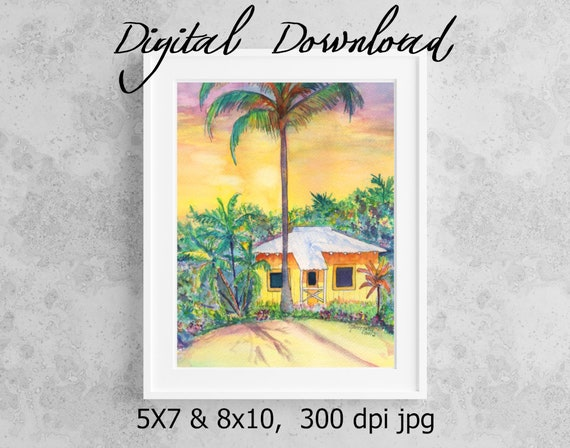 Tropical Cottage Print Digital Download 8x10 5x7 jpg Watercolor Print Printable wall art Downloadable Hawaii Decor Hawaiian Cottage House
