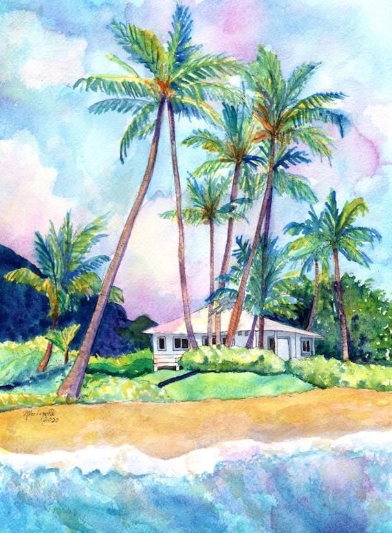 Gillins Beach House Original Watercolor Painting Kauai Paintings Hawaiian Art Tropical Beach Decor