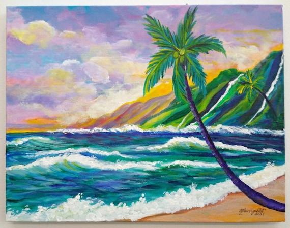 Kauai Na Pali Coast, Na Pali Fantasy, Kauai Original Acrylic Painting, Kauai Wall Art, Kauai Decor, Hawaiian Art, Hawaii Artist