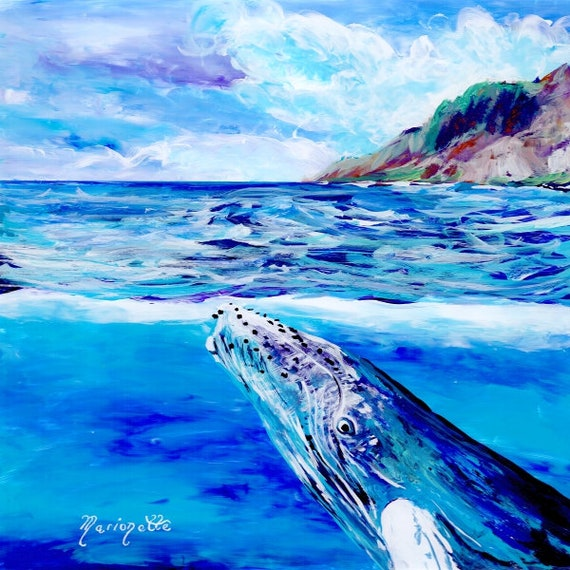 Whale art prints, Humpback Whale print, Hawaiian art, Kauai art prints, Hawaii painting, Hawaiian whales, whale ocean art, under sea