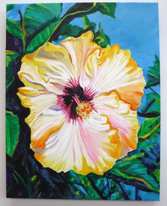 Hibiscus Painting, Hawaii Decor, Hawaiian Wall Art, Tropical Flower, Tropical Hibiscus, Hawaii Art, Kauai Artist, Original Hawaiian Art