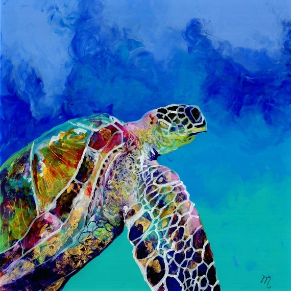 Sea Turtle Print, Hawaii Art, Sea Turtle Art, Ocean Art, Sea Turtle Wall Art, Sea Turtle Decor, Hawaiian Turtle, Swimming Turtle