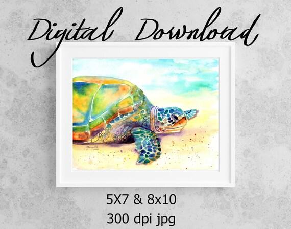 Turtle Art Print Digital Download 8x10 5x7 jpg Watercolor Print Printable wall art Downloadable Ocean Sea Turtle Hawaii Honu Kids Room Decor