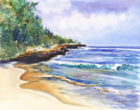 Kauai Beach art, Kauai prints, Kauai beaches, Kauai painting, Mahaulepu Beach, Kauai South Shore, Kauai Art, Hawaii Art, Tropical Beach
