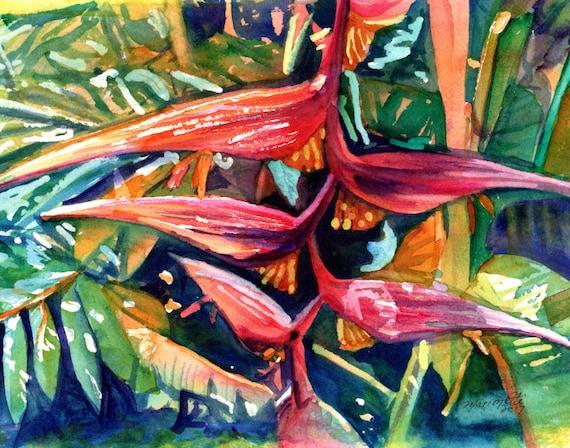 Heliconia Art Print, Hanging Heliconia Painting, Tropical Flower Decor, Kauai Fine Art, Hawaiian Wall Art, Hawaii Exotic Flowers