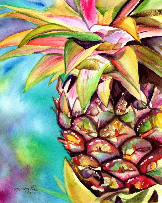 pineapple art prints, Hawaiian pineapples, kauai decor, pineapple watercolors, hawaiian pineapple paintings, hawaii maui oahu, fruit