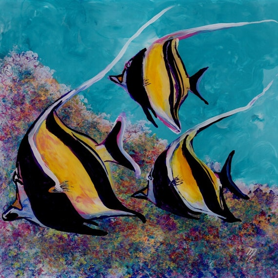 moorish idol art, angel fish art, tropical fish art, ocean art, hawaiian fish, hawaii art,  kids room decor fish painting tropical reef fish