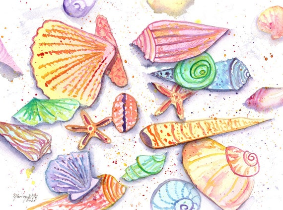 Seashell Art, Seashells, Seashell Decor, Beach Art, Hawaii Decor, Whimsical Seashells, Ocean Theme Decor, Ocean Nursery, Kauai Artist