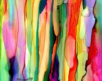 Rainbow Eucalyptus Tree 1 art print 8 x 10 - Hawaiian painting - Colorful Tropical Decor - Hawaiian Interior Design - Eucalyptus deglupta