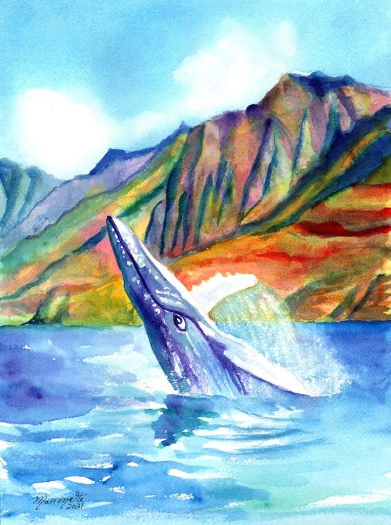 Breaching Humpback Whale, Whale Original Watercolor, Kauai Decor, Ocean Life Art, Hawaii Painting, Ocean Theme Decor, Kauai Artist