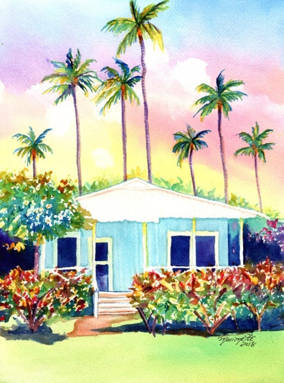 Kauai Cottage Original Watercolor Painting,  Waimea Plantation Cottages, Waimea Kauai, Old Plantation Houses, Kauai Original Paintings