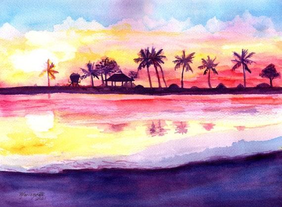 Kauai Salt Pond Sunset, Original Watercolor, Kauai Decor, Ocean Art, Hawaii Painting, Ocean Theme Decor, Fathers Day Gift, Making Salt