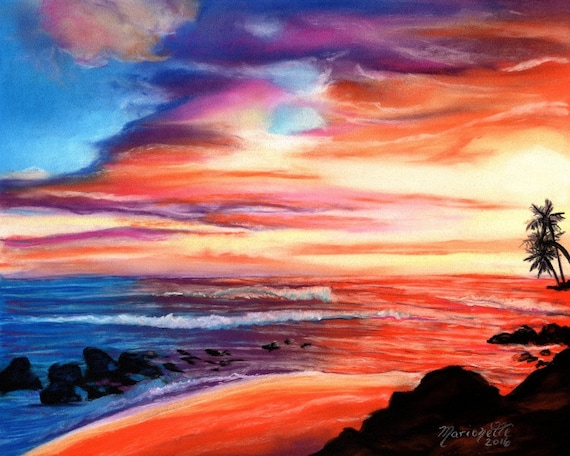 sunset art prints, kauai art,  salt pond beach, hawaiian sunrise, hawaii paintings, kauai art galleries, maui, oahu, Hawaii artwork, sunsets