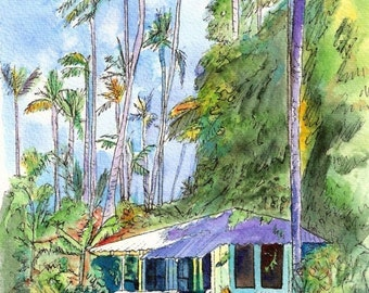 Hawaiian Cottage II  art print 5x7 from Kauai Hawaii ultramarine blue green